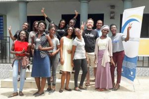 Group photo of members of Pyladies Accra Maiden meetup